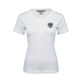Ladies White Stretch Scoop Neck-IPFW Mastodon Shield