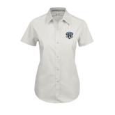 Ladies White Twill Button Up Short Sleeve-IPFW Mastodon Shield