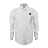 Mens White Oxford Long Sleeve Shirt-IPFW Mastodon Shield