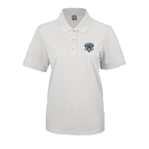 Ladies Easycare White Pique Polo-IPFW Mastodon Shield