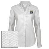 Ladies Red House Diamond Dobby White Long Sleeve Shirt-Primary Athletic Logo