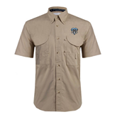 Khaki Short Sleeve Performance Fishing Shirt-IPFW Mastodon Shield