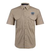 Khaki Short Sleeve Performance Fishing Shirt-Arched IPFW with Mastodon