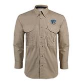 Khaki Long Sleeve Performance Fishing Shirt-Arched IPFW with Mastodon