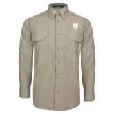Khaki Long Sleeve Performance Fishing Shirt-Primary Athletic Logo