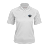 Ladies White Textured Saddle Shoulder Polo-IPFW Mastodon Shield