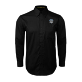 Black Twill Button Down Long Sleeve-IPFW Mastodon Shield