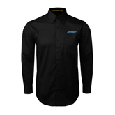 Black Twill Button Down Long Sleeve-IPFW