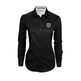 Ladies Black Twill Button Down Long Sleeve-IPFW Mastodon Shield