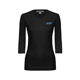 Ladies Black 3/4 Sleeve Scoop Neck-IPFW