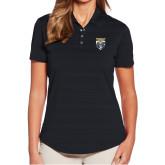 Ladies Callaway Horizontal Textured Black Polo-Primary Athletic Logo