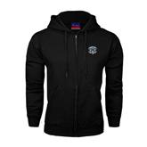 Black Fleece Full Zip Hoodie-IPFW Mastodon Shield