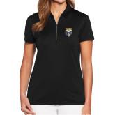 Ladies Callaway Tulip Sleeve Black Zip Polo-Primary Athletic Logo