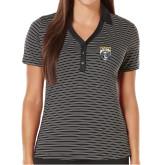 Ladies Callaway Core Stripe Black/White Polo-Primary Athletic Logo