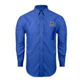 Mens Royal Oxford Long Sleeve Shirt-IPFW Mastodon Shield