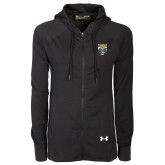 Ladies Under Armour Black Varsity Full Zip Hoodie-Primary Athletic Logo