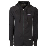 Ladies Under Armour Black Varsity Full Zip Hoodie-Athletics Primary Wordmark