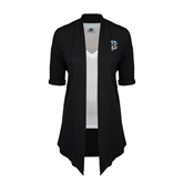 Ladies Black Drape Front Cardigan-IPFW Mastodon Shield