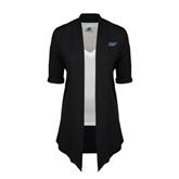 Ladies Black Drape Front Cardigan-IPFW