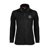Ladies Fleece Full Zip Black Jacket-IPFW Mastodon Shield