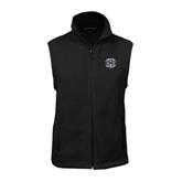 Fleece Full Zip Black Vest-IPFW Mastodon Shield