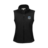 Ladies Fleece Full Zip Black Vest-IPFW Mastodon Shield