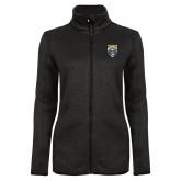 Black Heather Ladies Fleece Jacket-Primary Athletic Logo