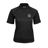 Ladies Black Textured Saddle Shoulder Polo-IPFW Mastodon Shield