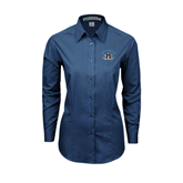 Ladies Deep Blue Tonal Pattern Long Sleeve Shirt-Arched IPFW with Mastodon