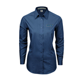Ladies Deep Blue Tonal Pattern Long Sleeve Shirt-IPFW