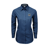 Ladies Deep Blue Tonal Pattern Long Sleeve Shirt-IPFW Mastodon Shield