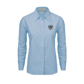Ladies Light Blue Oxford Shirt-IPFW Mastodon Shield