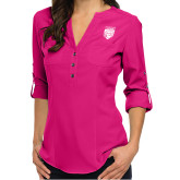 Ladies Glam Berry 3/4 Sleeve Blouse-Primary Athletic Logo