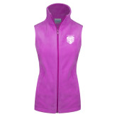 Columbia Ladies Full Zip Lilac Fleece Vest-Primary Athletic Logo