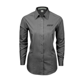 Ladies Grey Tonal Pattern Long Sleeve Shirt-IPFW