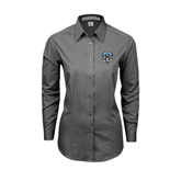 Ladies Grey Tonal Pattern Long Sleeve Shirt-IPFW Mastodon Shield