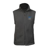 Fleece Full Zip Charcoal Vest-Arched IPFW with Mastodon