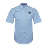 Light Blue Twill Button Down Short Sleeve-IPFW Mastodon Shield