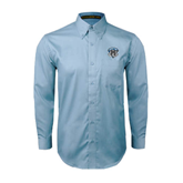 Light Blue Twill Button Down Long Sleeve-IPFW Mastodon Shield