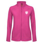 Ladies Fleece Full Zip Raspberry Jacket-Primary Athletic Logo