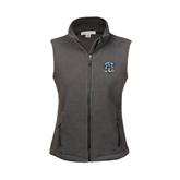 Ladies Fleece Full Zip Charcoal Vest-IPFW Mastodon Shield