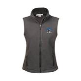 Ladies Fleece Full Zip Charcoal Vest-Arched IPFW with Mastodon