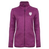 Dark Pink Heather Ladies Fleece Jacket-Primary Athletic Logo