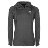 Ladies Sport Wick Stretch Full Zip Charcoal Jacket-Primary Athletic Logo