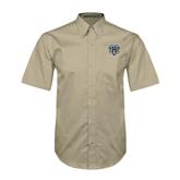 Khaki Twill Button Down Short Sleeve-IPFW Mastodon Shield
