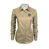 Ladies Khaki Twill Button Down Long Sleeve-IPFW Mastodon Shield