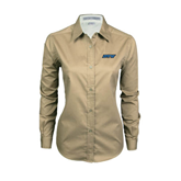 Ladies Khaki Twill Button Down Long Sleeve-IPFW