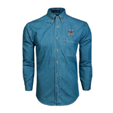 Denim Shirt Long Sleeve-IPFW Mastodon Shield