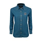 Ladies Denim Long Sleeve Shirt-IPFW Mastodon Shield