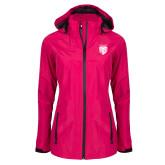 Ladies Dark Fuchsia Waterproof Jacket-Primary Athletic Logo